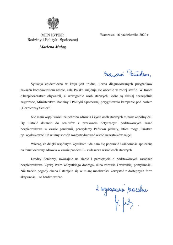 List Ministra Rodziny i Polityki Społecznej do Seniorów