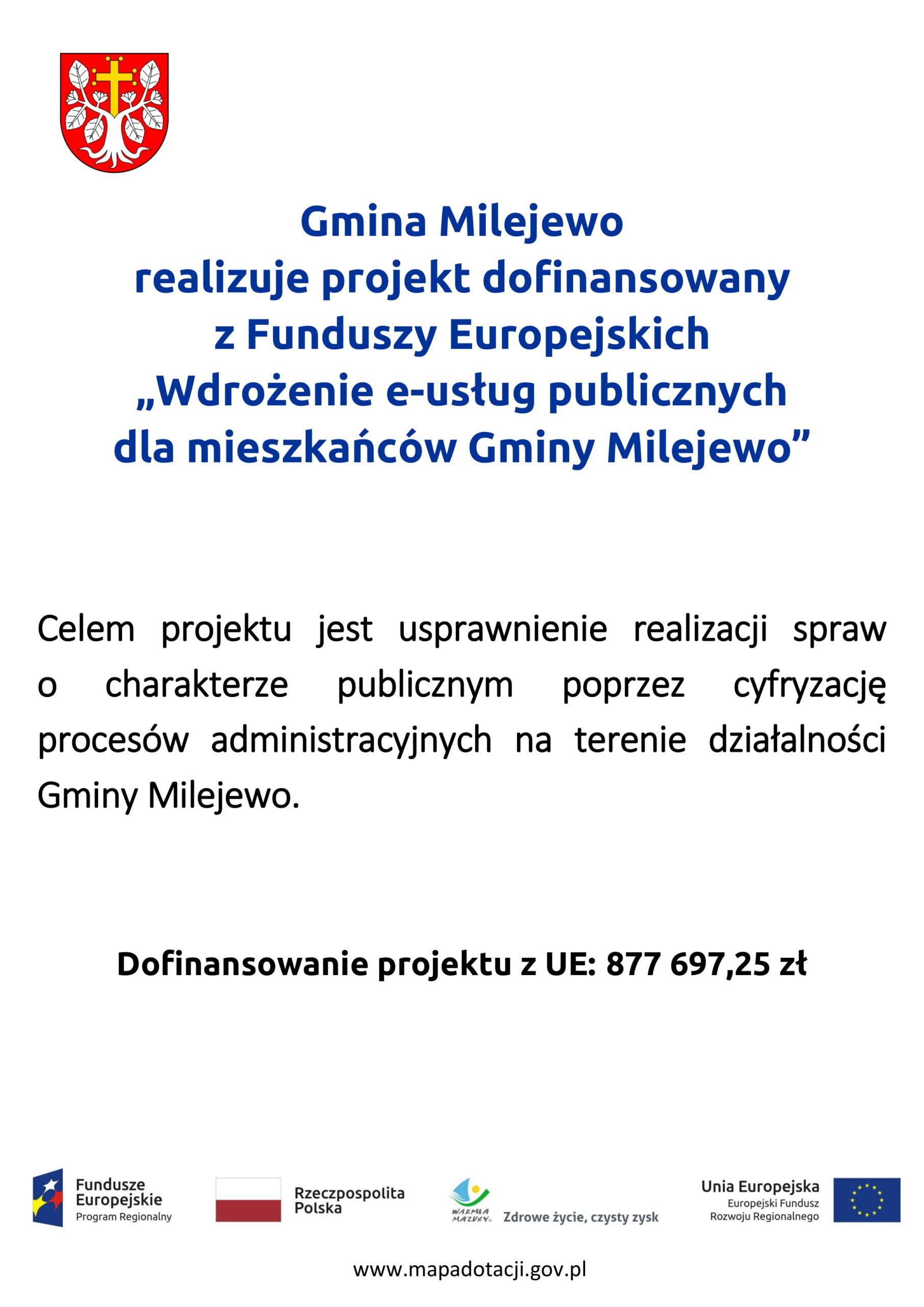 """Plakat """"Wdrożenie e-usług publicznych dla mieszkańców Gminy Milejewo"""""""