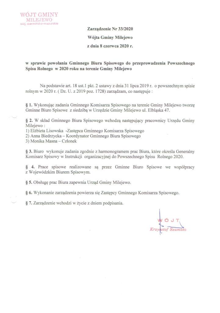 Zarządzenie Wójta Gminy Milewo numer 33/2020